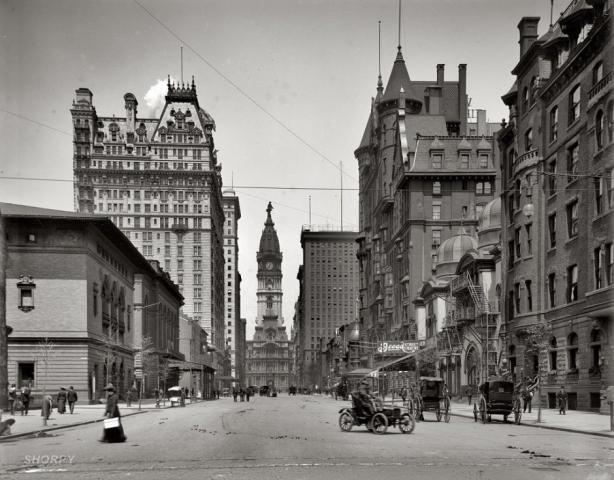 Phila 1905 Broad at Spruce looking north toward City Hall