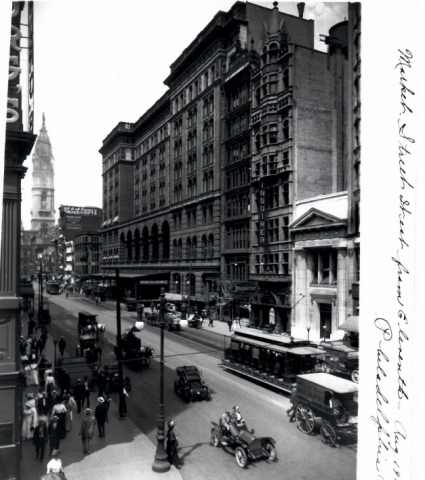 Phila. & Reading Terminal 1911 on Market St looking west - Note Phila Inquirer Building